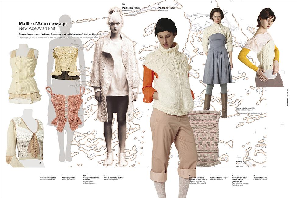 Pages d'un cahier de tendances Peclers Paris. Photographies de tissus, vêtements portés ou à plats, échantillons, matières, pour le Bureau de Style, Peclers, réalisées par Aude Vincent.