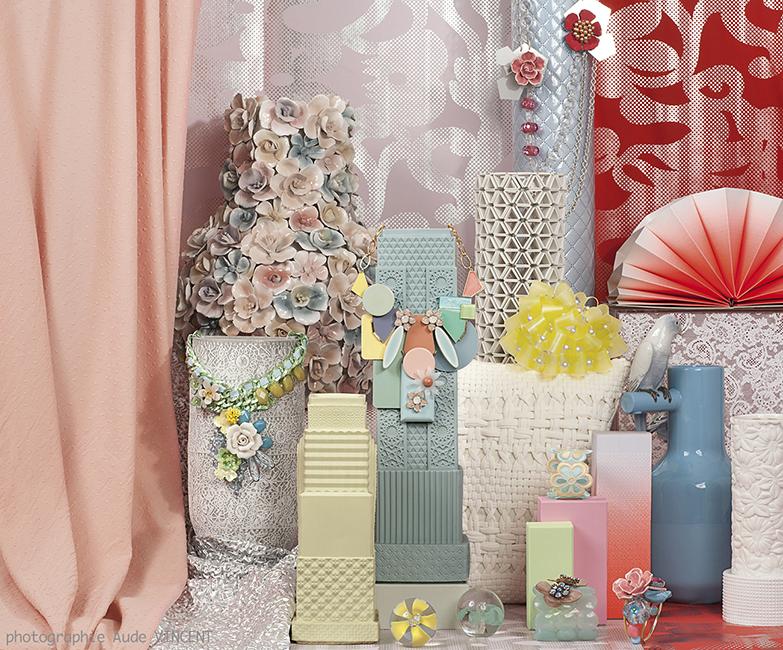 Photographie d'une Nature Morte de tendances pour les industriels de la joaillerie thème Pastel Vintage.