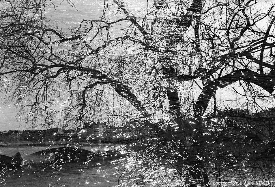 """Photographie d'auteur argentique noir et blanc extraite de la série """"Paris, Paris, Paris, la ville lumière sans cliché"""" de la photographe française et parisienne Aude VINCENT. Le pont Royal relie le 1er  au 7 ème arrondissement."""