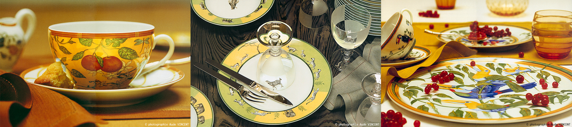 Photographies d'Art de la table, Hermès, service Africa, service Rythme et service Toucan.